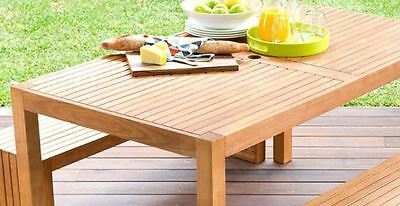 New Outdoor Family Picnic Table & Bench Set Wooden Made of Eucalyptus