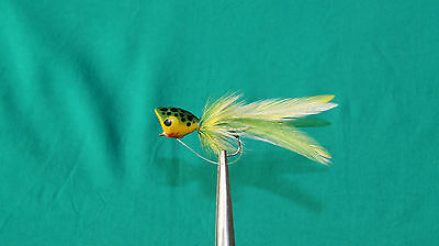 2QTY BASS POPPER FROG Fly Fishing Flies size 6