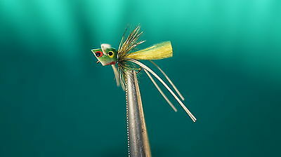3QTY MICRO POPPER FROG Fly Fishing Flies size 12