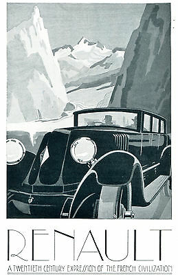 1926 Original RENAULT CAR AD. ART DECO Poster Sytle. Best Gifts Old World to New