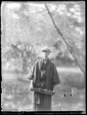 Antique Glass Negative / Young Man in Kimono / Japanese / c. 1930s