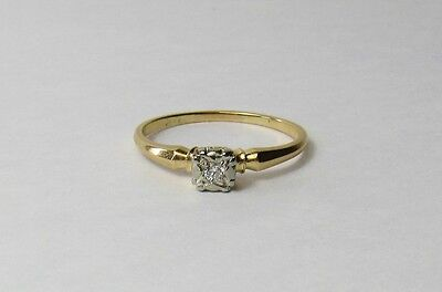 Vintage Art Deco 14K 14KT White Yellow Gold .06 Diamond Solitaire Ring Size 8.75