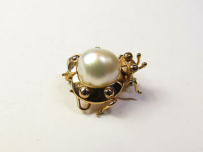 Vintage 14K 14KT Yellow Gold Ladybug Insect Figural Pin Brooch Large Pearl Body