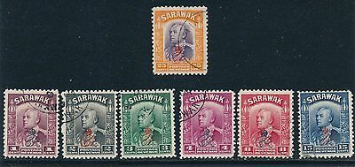 1947 Sarawak OVERPRINTS #159 - 162, #164, #167, #169; ALL USED; SOUND/NO FAULTS