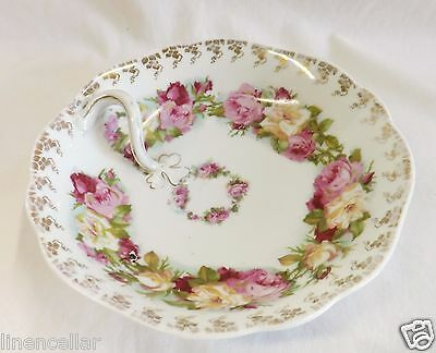 Antique Bowl Pink Roses Silesia Germany Bone China with Handle