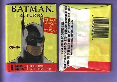 1992 OPC Batman Returns Wax Pack Fresh from Box!
