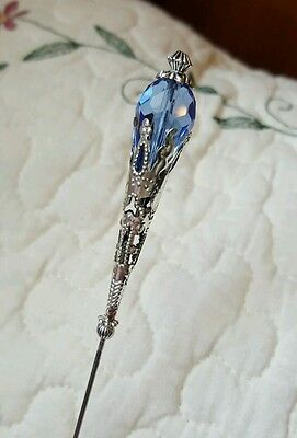 Antique Inspired Victorian Hat Pin Vintage Crystal Bead & Filigree Silver.