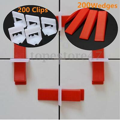 200Pcs Tile Leveling Spacer System Clips Wedges Spacer Floor Wall Tiling Tool UK
