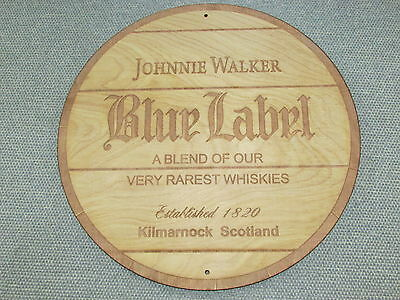 "Johnnie Walker Blue label 12"" Round Wood Sign barrel Top end style"