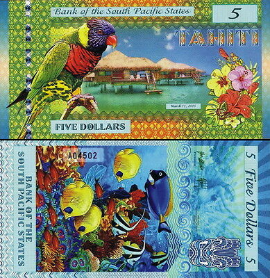 SOUTH PACIFIC STATES - TAHITI 5 dollars 2015 Polymer FDS UNC