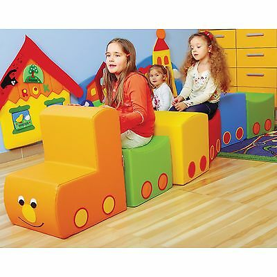 Train Soft Play Set Childrens Seating Kids Beanbags Sofa