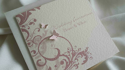 10 Personalised Wedding Pocketfold Invitations Butterfly Info Rsvp Menu +