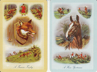 *Vintage Swap / Playing Card - 2 SINGLE - HORSE HOUNDS AND FOX