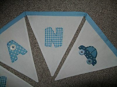 Personalised hand made Bunting -  white blue - Christening New Baby Nursery