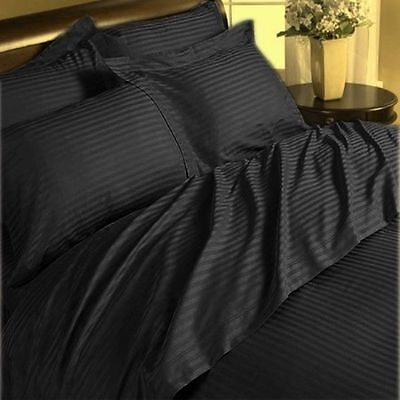 Bed Sheet Set Egyptian Cotton 1000 Thread Count Black Stripe