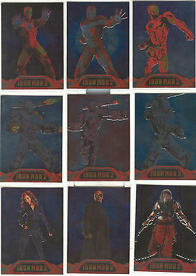 """Iron Man 2 - """"Armoured Cards"""" Set of 9 Chase Cards #AC1-9"""