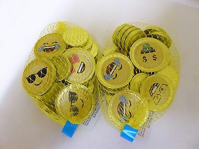 x50 (2 Bags) EMOJI Chocolate gold coins 200g PARTY GIFT