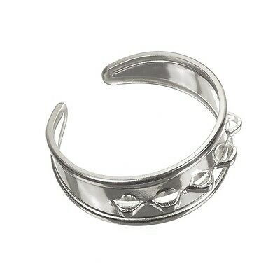 925 Sterling Silver Adjustable Charm Ring With 5 loops 18mm Pack of One (D70/15)