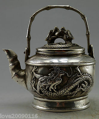 Collectible Decorated Old Handwork Miao Silver Carved Dragon Bamboo Tea Pot