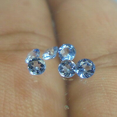 Faceted Natural AAA Aquamarine 3 mm Round Shape 6 Piece Only