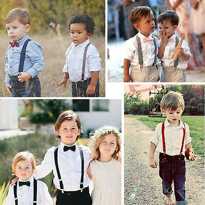 Kids Solid Color Clip-on Suspenders Elastic Adjustable Braces With Cute Bow Tie