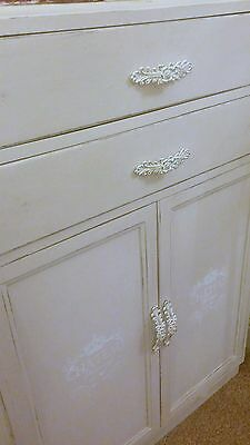 Vintage Shabby Chic solid Oak Sideboard Cupboard with Drawers painted in cream