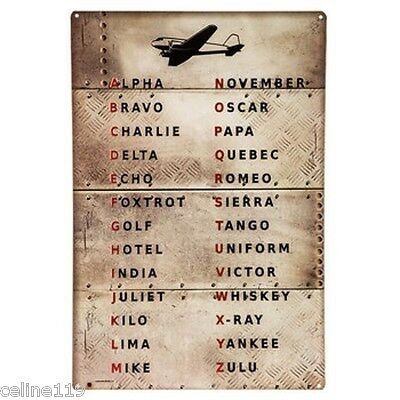 Aviation Metal Wall Sign Military Alphabet tables Flying Aircraft Codes Plaque