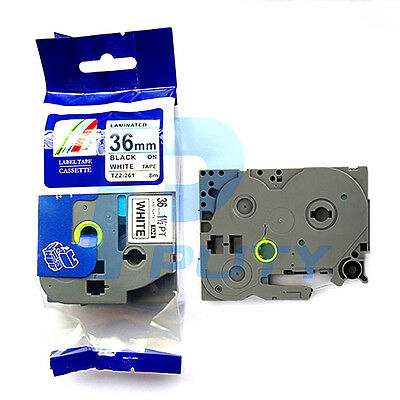 2PK Black on White Label Tape Tze 261 TZ-261 Compatible for Brother P-touch 36mm