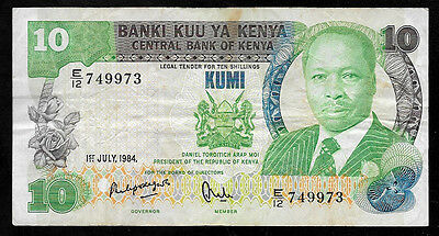 World Paper Money - Kenya 10 Shillings 1984 P20 @ VF  # 973