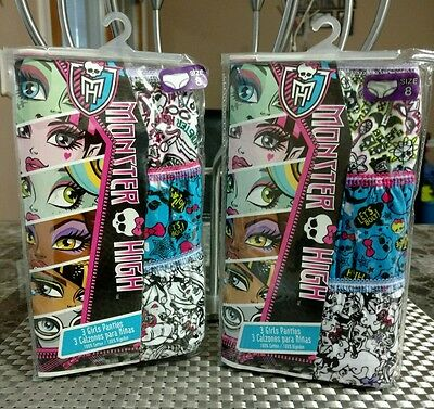 Monster High Girls Panties Two 3 Packs Size 8 New
