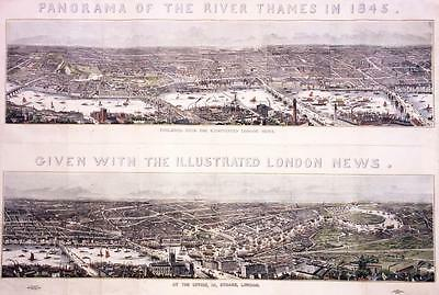 """1845 LONDON - Huge RARE Antique Print """"PANORAMA OF THE RIVER THAMES"""" Hand Colour"""