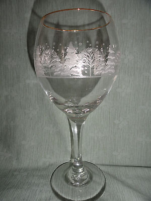 Arby's Frosted Etched Winter Scene Wine Gold Rim Goblet (s) Glasse (s)  VGC