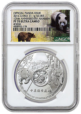 2016 ANA Commemorative Show Silver Panda NGC PF 70  only 2,000 Minted 1 oz.