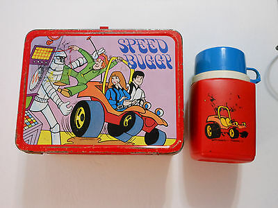 Vintage 1973 Hanna Barbera Speed Buggy Metal Lunch Box With Thermos