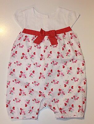 Baby Girls White Pink Floral Bow Playsuit age 6-9 months Matalan