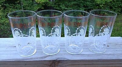 Lot 4 mid-century glass tumblers Federal Glass white flowers gold floral border