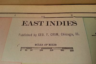 "EAST INDIES Map 1902 Antique Vintage Original FINE 22""x14.5"" Old MAPZ134"