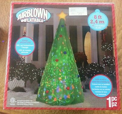 AIRBLOWN INFLATABLES CHRISTMAS TREE 8ft GEMMY INDUSTRIES CORP LED SWIRL LIGHTS #