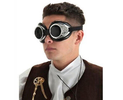 Atomic Goggles Silver Black Steampunk Glasses Adult Halloween Costume Accessory