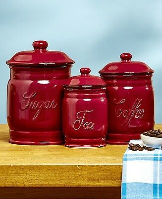 kitchen canister sets ceramic red country sugar coffee pods