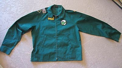 Green Zippered Jacket with 14 BOY SCOUT Patches Sewn on Size Medium  1970's
