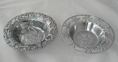 2 Home Accents Snowman and Gingerbread Man Christmas Silver-tone Bowls