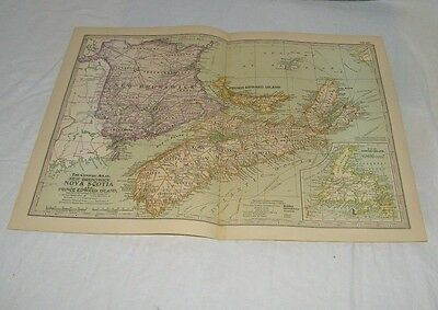 Vintage New Brunswick Nova Scotia Map CENTURY DICTIONARY & CYCLOPEDIA 1906 19786