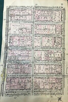 Original 1912, The Tombs, Ny Life Insurance Co., Lower Manhattan, Ny Atlas Map