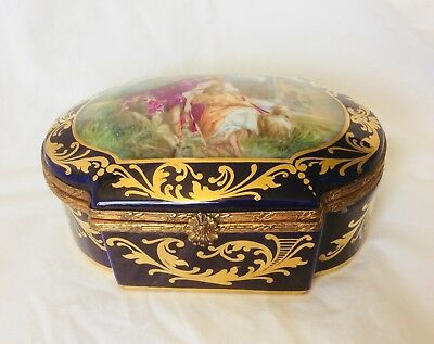 Sevres Style French Porcelain Hand Painted Cobalt Box
