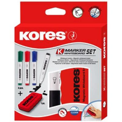 Kores Whiteboard-Marker Set, 4 Marker + Tafellöscher (M20863) (9023800208637)