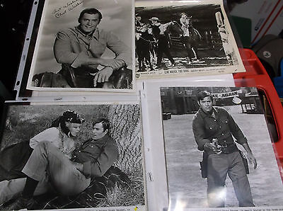 4 original 8x10 photos of Clint Walker  numbered fort dobbs and great bank robbe