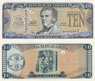 Liberia 10 Dollars (2011) - Coat of Arms/Rubber Tree/p27 UNC