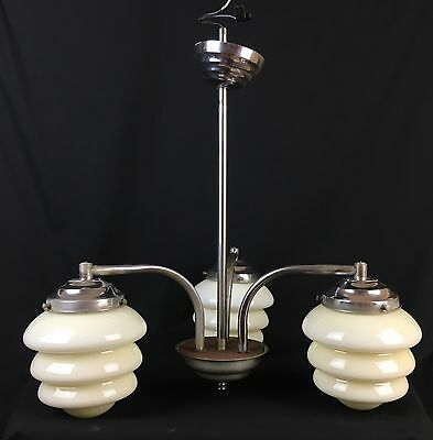 Vintage Art Deco Ceiling Pendant Light Fitting & Trio Cream Beehive Glass Shades