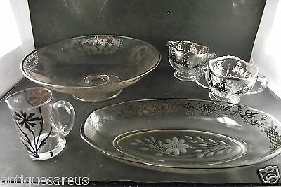 Silver Overlay Collection Footed Round Bowl Cream And Sugars Celery Dish